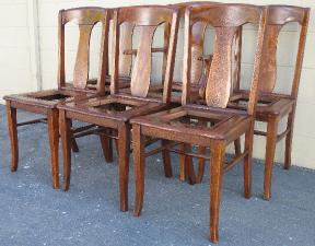 Restored Shellac Finish On Six Chairs